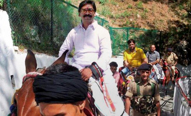 Hemant Soren, Chief Minister of Jharkhand, rides a pony during his visit to Mata Vaishno Devi ...