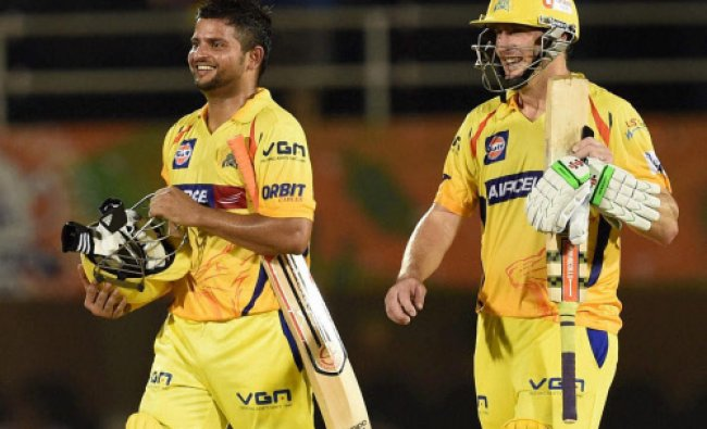 Suresh Raina and David Hussey celebrate the victory of Chennai Superkings during the play off ...