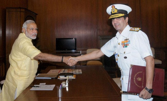 Narendra Modi with Chief of Naval Staff, Admiral RK Dhowan at a meeting ...