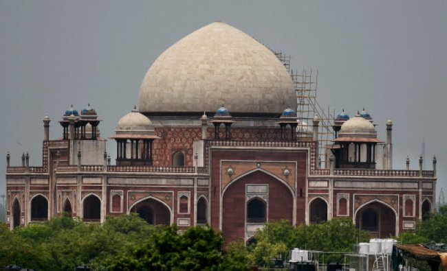 Scaffolds fixed for the restoration work on the century-old dome of Humayuns Tomb...