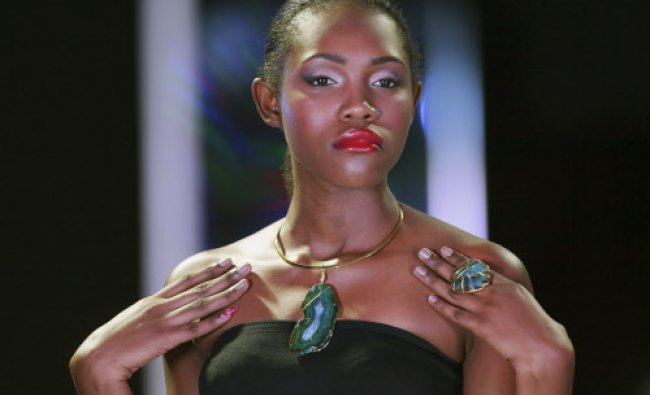 A model presents a creation by Trinidadian Jewellery designer Jacqueline Charles of Koko Karibi...