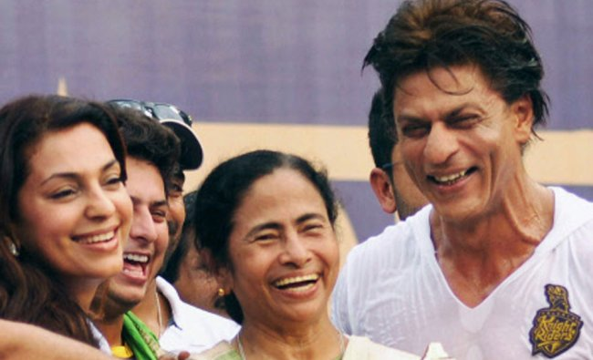 West Bengal Chief Minister Mamata Banerjee with Kolkata Knight Riders owners Shahrukh Khan...