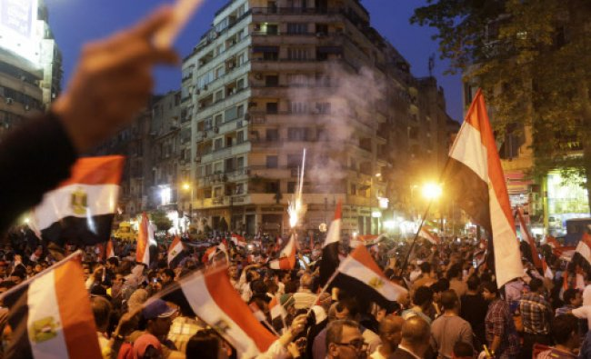 Egyptians gather at Tahrir square to celebrate former Egyptian army chief Abdel Fattah al-Sisi\'s...