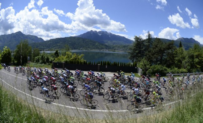 Cyclists pedal during the 17th stage of the Giro d\' Italia cycling race from Sarnonico to...