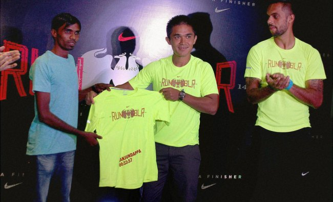 Indian football captain Sunil Chhetri at a Nike event in Bengaluru ...
