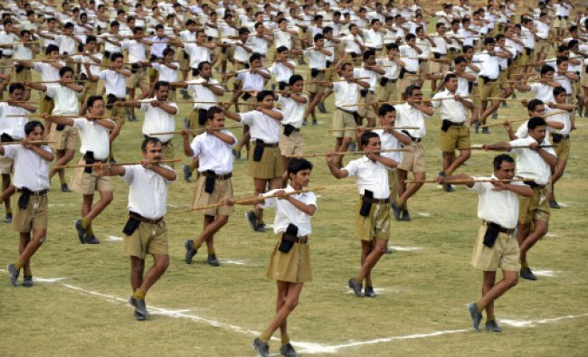 Rashtriya Swayamsewak Sangh (RSS) volunteers from Madhya Pradesh and Chhattisgarh perform...