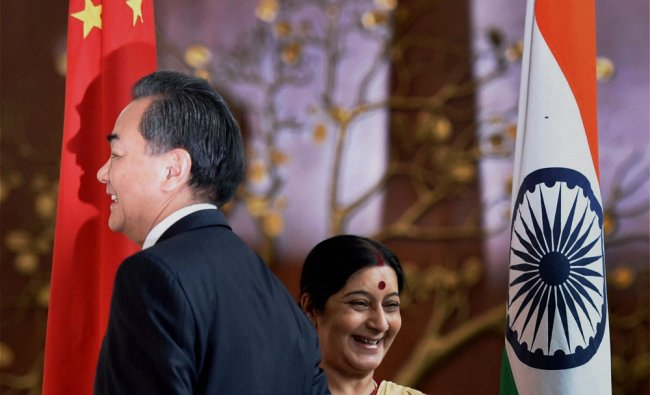 External Affairs Minister Sushma Swaraj with her Chinese counterpart, Wang Yi ...
