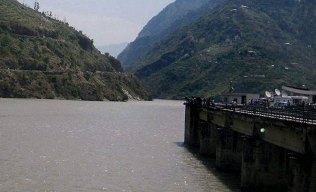 A view of Beas River near Pandoh Dam in Mandi on Monday. Rescue work going on to search for...