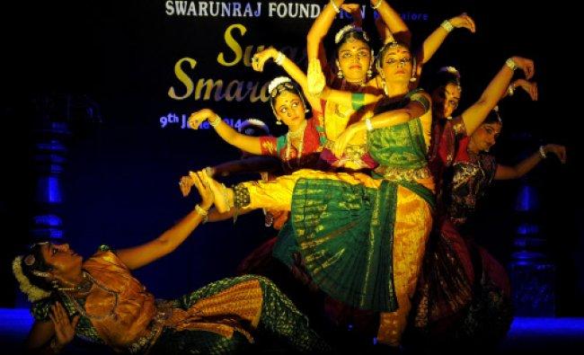 Artists perform Bharathanatyam at a Swarun Swarnanjali- 2014, organised by Swarun Raj...