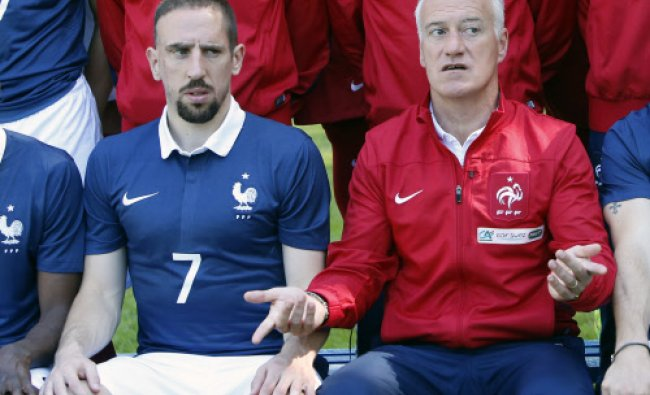 France\'s forward Franck Ribery and head coach Didier Deschamps pose for the team picture at...