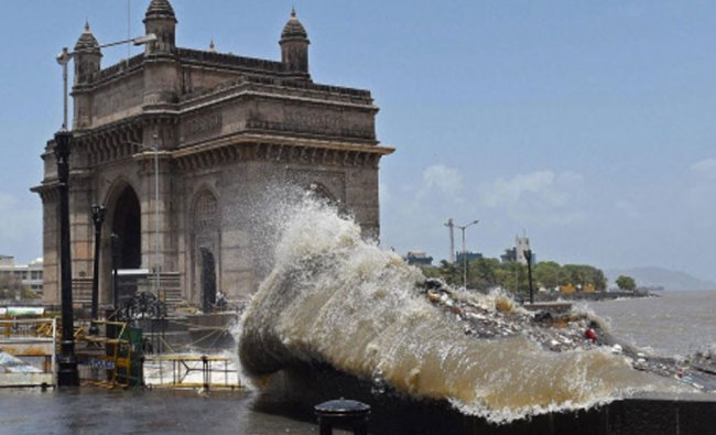 A high tide hits the shore near Gateway of India in Mumbai...