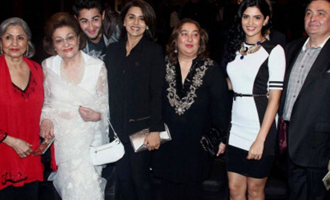 Ritu Nanda, Krishna Kapoor, Rishi Kapoor, Neetu Singh, Armaan Jain and Deeksha Seth during the...