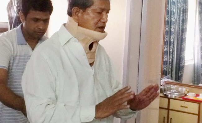 Uttarakhand Chief Minister Harish Rawat being treated at AIIMS in New Delhi ...