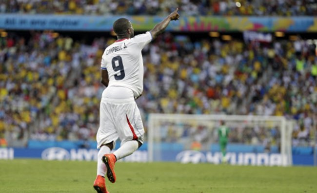Costa Rica\'s Joel Campbell runs with the ball under his shirt after scoring his side\'s first goal ..