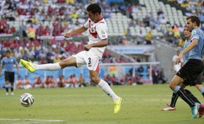 Costa Rica\'s Giancarlo Gonzalez tries a shot on goal ...