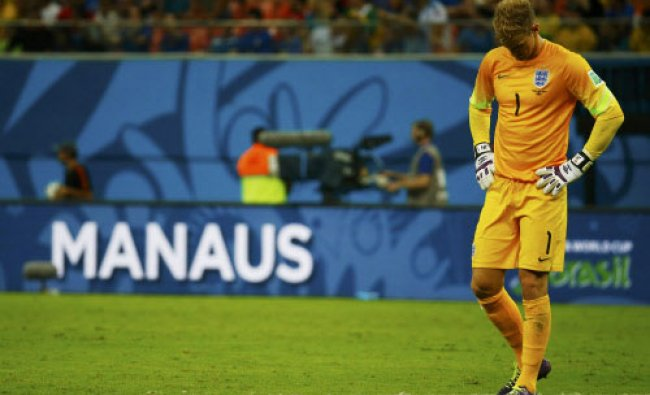 England\'s Joe Hart reacts after their loss to Italy in their 2014 World Cup Group D soccer...