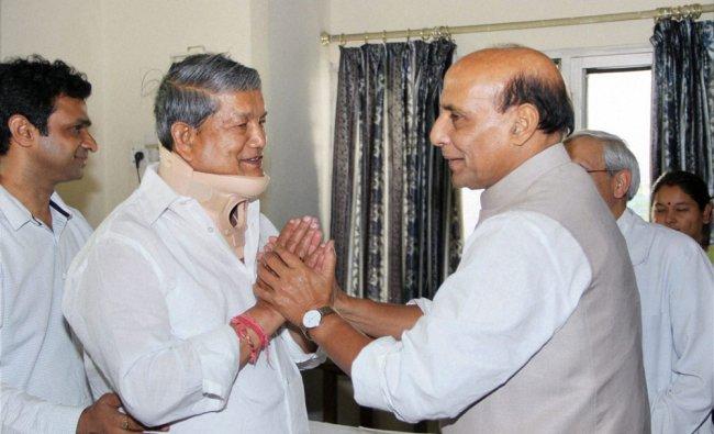 Rajnath Singh meets Uttarakhand Chief Minister Harish Rawat who is undergoing treatment ...