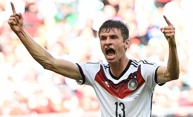 Germany\'s Mueller celebrates scoring his team\'s third goal, his second goal for the match ...