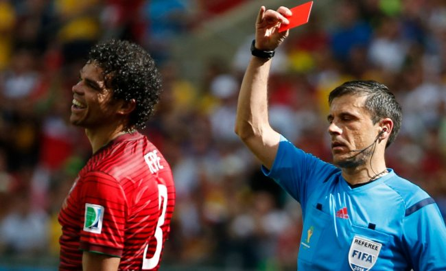 Portugal\'s Pepe is shown the red card by referee Mazic of for committing a rough foul ...