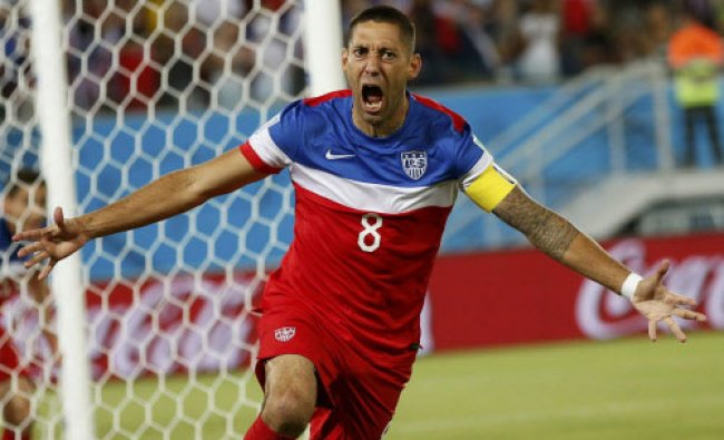Clint Dempsey of the U.S. celebrates after scoring their first goal during their 2014 World ...