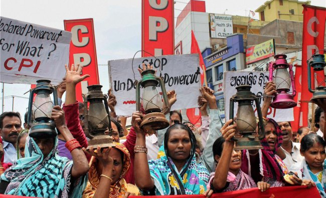 CPI activists protesting against power cuts in Bhubaneswar, Odisha ...