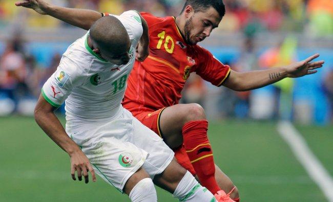Algeria\'s Sofiane Feghouli and Belgium\'s Eden Hazard battle for the ball ...