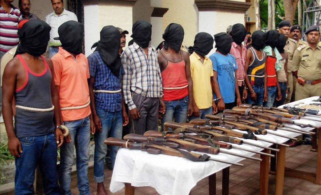 12 cadres of People\'s Liberation Front of India (PLFI) who were arrested by CRPF and Police ...