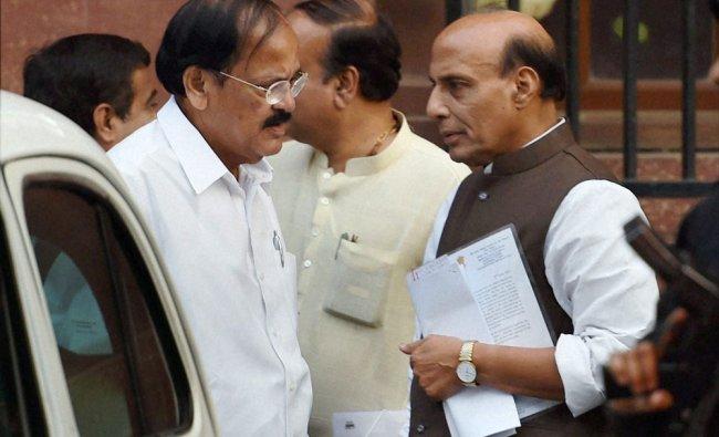 Home Minister Rajnath Singh and Parliamentary Affairs Minister M Venkaiah Naidu at the PMO ...