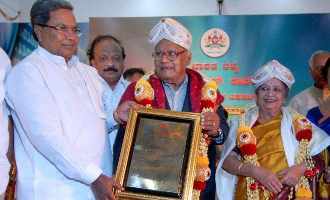 Siddaramaiah felicitates eminent scientist and Bharat Ratna awardee CNR Rao in Bengaluru ...