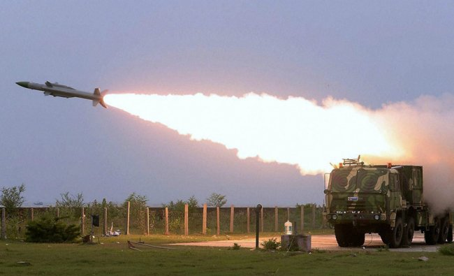 Akash missile was successfully test fired at a very low altitude from the Integrated Test Range ...