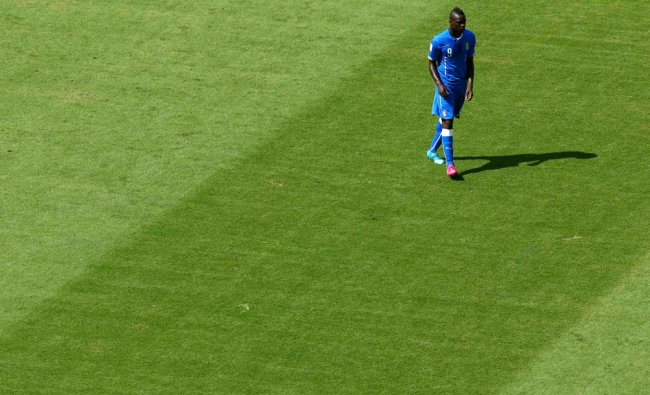 Italy\'s Mario Balotelli is seen on the pitch during their match ...