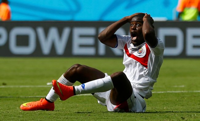 Costa Rica\'s Campbell reacts to a decision by referee Osses of Chile ...