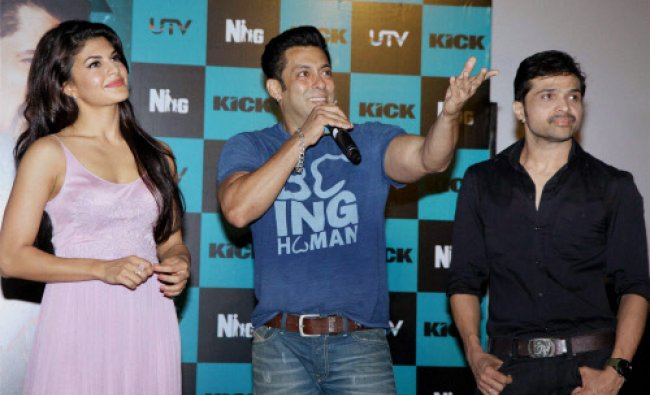 Bollywood actor Salman Khan with Jacqueline Fernandes and singer Himesh Reshammiya at the launch...
