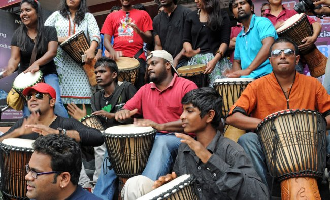 Music lovers enjoying the multi instrument jam session on the occasion of Word Music Day in...