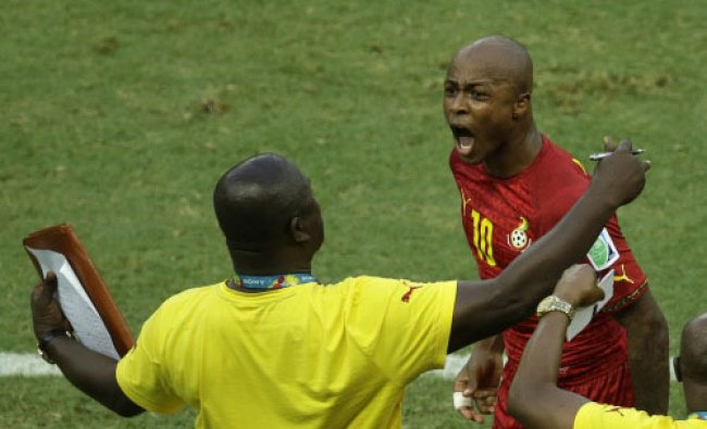 Ghana\'s Andre Ayew, right, celebrates scoring his side\'s first goal during the group G World ...