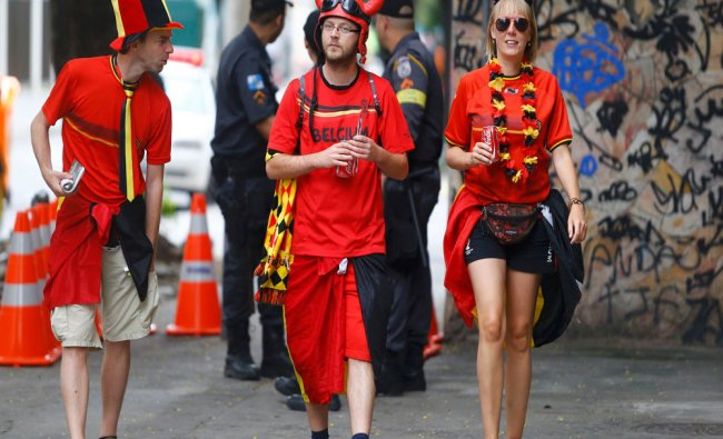 Fans arrive at the 2014 World Cup Group H soccer match between Belgium and Russia at the Maracana...