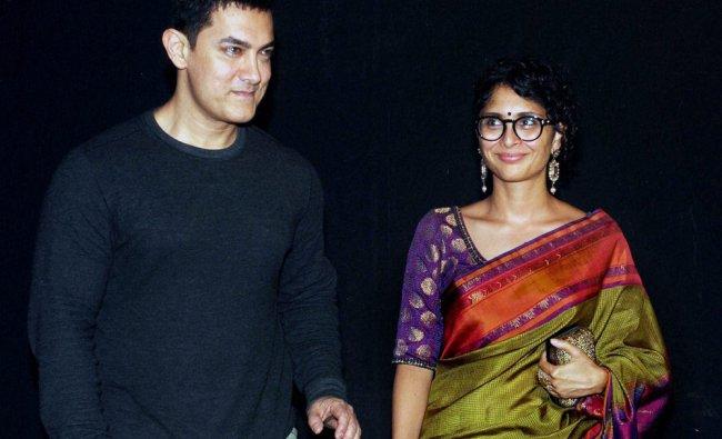 Aamir Khan with his wife,Kiran Rao attends the Star Parivaar Awards 2014 Mumbai...