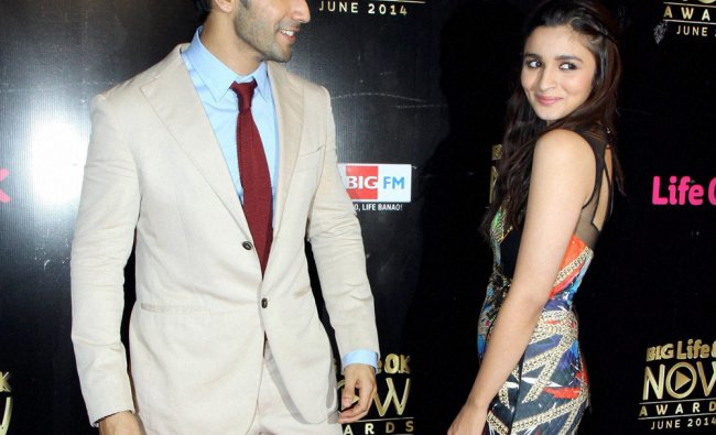 Bollywood actors Varun Dhawan and Alia Bhatt during an award function in Mumbai ...