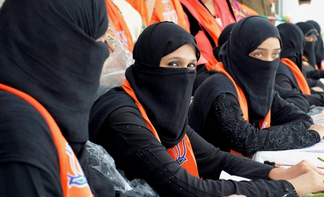 Burqa clad woman workers at the BJP Minorities Cell National Executive meeting in Bhopal ...