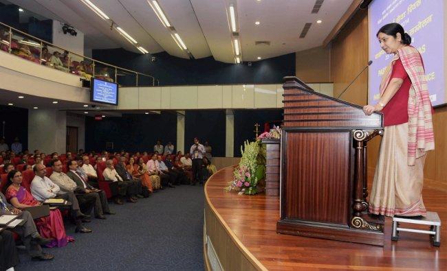 External Affairs Minister Sushma Swaraj addressing the Passport Seva Divas in New Delhi ...