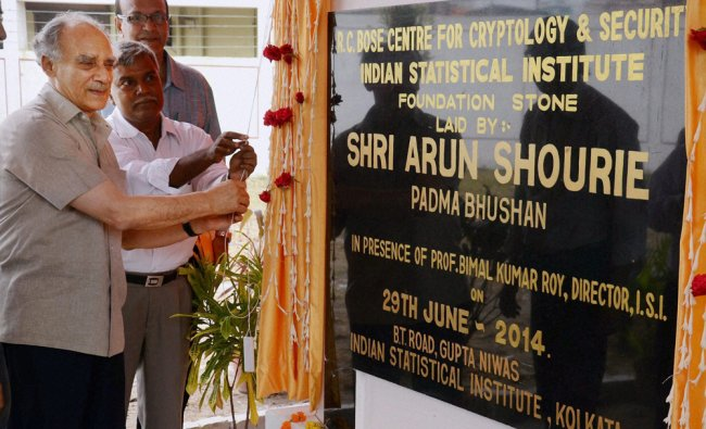 Arun Shourie lays the foundation stone of the new building of Indian Statistical Institute ...