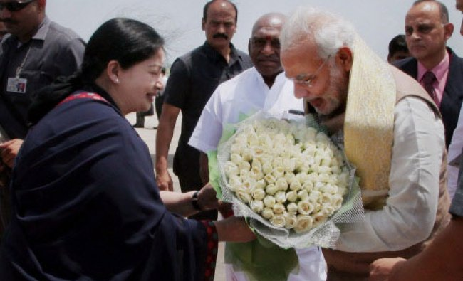 Prime Minister Narendra Modi being greeted by Tamil Nadu Chief Minister J Jayalalithaa at...