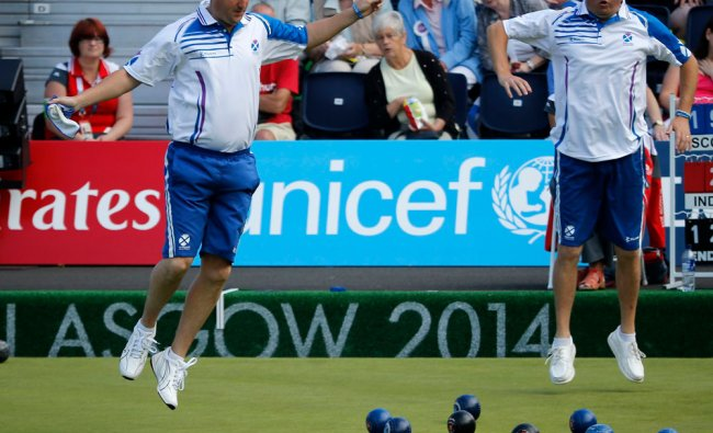 Scotlands Neil Speirs and David Peacock react to a ball...