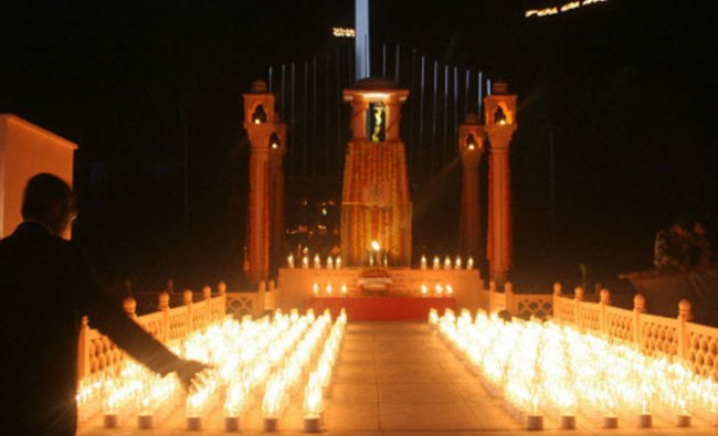 Army jawans lighting lamps at \'Kargil war Wall Memorial\' to pay tribute during the celebrations...