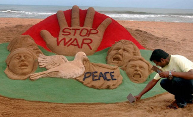 Sand sculpture with a message Stop War at Puri beach of Odisha...