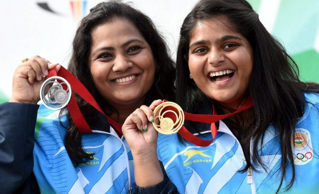 Gold medalist Rahi Sarnobat and Silver medalist Anisa Sayyed with their medal at a medal ceremony...