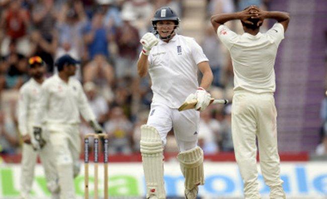 England\'s Gary Ballance celebrates reaching his century during the third cricket test match...