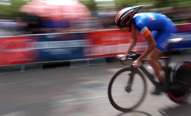 Arvind Panwar makes his way towards the finish line in the Men\'s Time Trial during...