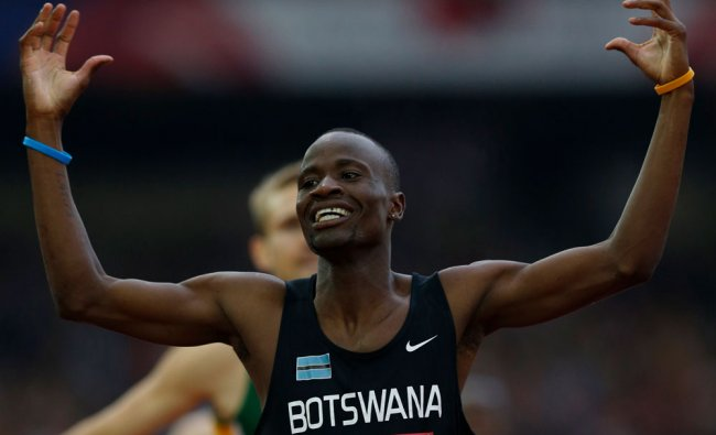 Botswana\'s Nijel Amos wins the men\'s 800m final in the athletics competition at Hampden Park...