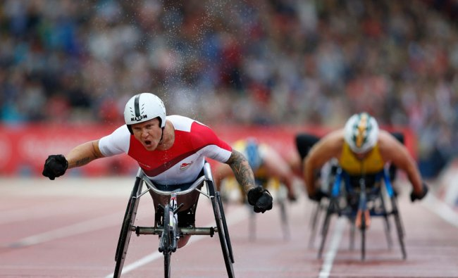 England\'s David Weir wins the men\'s para-sport 1500m T54 finals in the athletics competition at...